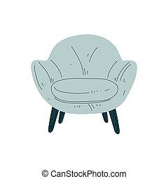 bleu, amorti, bois, lumière, illustration, confortable, vecteur, jambes, fauteuil, conception intérieur, élément, tapisserie ameublement, meubles