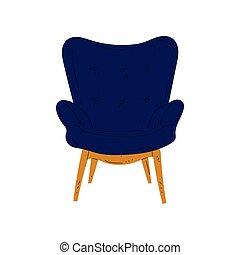 bleu, amorti, fauteuil bois, illustration, confortable, vecteur, jambes, conception intérieur, élément, tapisserie ameublement, meubles