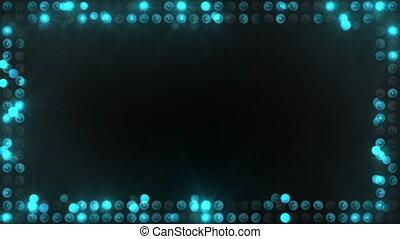 bleu, ampoules, cadre, éclairage, loopable