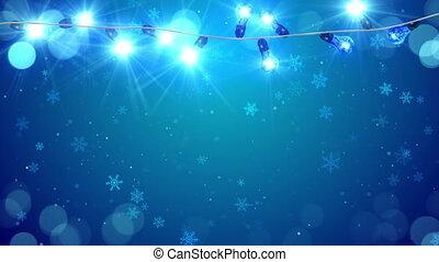 bleu, ampoules, lumière, chute neige, noël, boucle