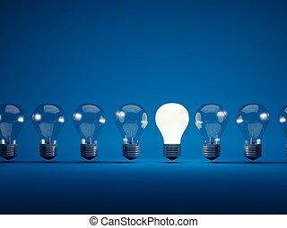 bleu, ampoules, rang, fond, lumière