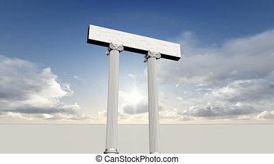 bleu, ancien, beaucoup, ciel, piliers, grec, marbre