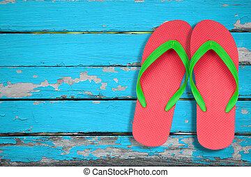 bleu, ang, fiasco, chiquenaude, bois, vert, sandales, rouges