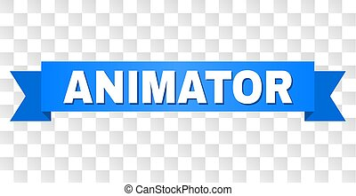 bleu, animator, ruban, titre