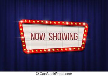 bleu, annonce, cinéma, cadre, rideaux, arrière-plan., vecteur, conception, planche, ampoule, element., retro