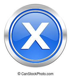 bleu, annuler, icône, bouton