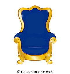 bleu, antique vieux, fauteuil