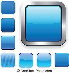 bleu, app, carrée, icons.