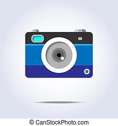 bleu, appareil-photo photo, couleur, icône