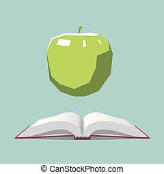 bleu, apple., isolé, arrière-plan., livre, ouvert