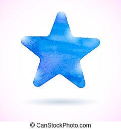bleu, aquarelle, étoile