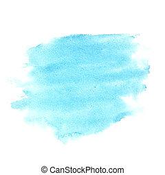 bleu, aquarelle, coups, brosse