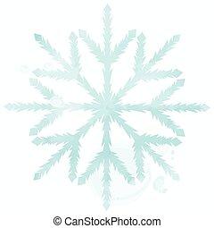 bleu, aquarelle, flocon de neige