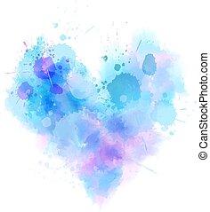 bleu, aquarelle, résumé, coeur