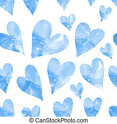 bleu, aquarelle, seamless, texture, cœurs