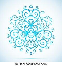 bleu, aquarelle, vecteur, flocon de neige