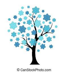 bleu, arbre hiver