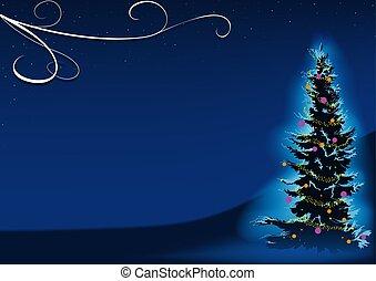 bleu, arbre noël