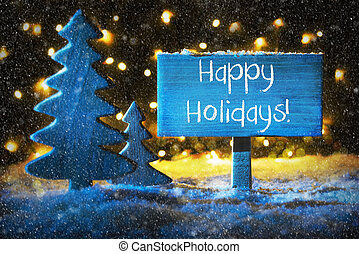 bleu, arbre noël, texte, heureux, fetes, flocons neige