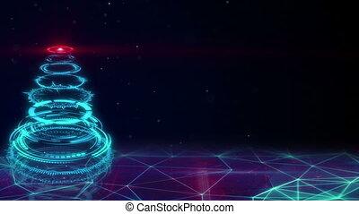 bleu, arbre, sci-fi, loopable, noël