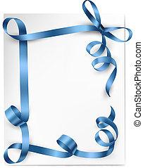 bleu, arc don, vecteur, fond, ribbons., noël