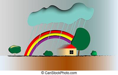 bleu, arc-en-ciel, après, ciel, douche pluie, immédiatement