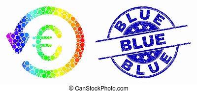 bleu, arc-en-ciel grunge, coloré, pointillé, timbre, cachet, vecteur, chargeback, euro, icône