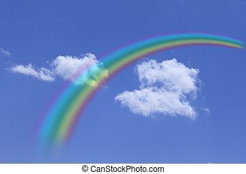 bleu, arc-en-ciel, nuage ciel