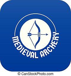 bleu, arc, vecteur, icône flèche