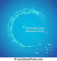 bleu, area., réseau, technologie, texte, résumé, échantillon, arrière-plan., fond, numérique, blanc, concept., hightech, cercle