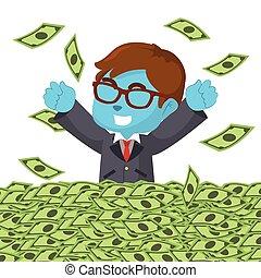 bleu, argent, heureux, mer, homme affaires