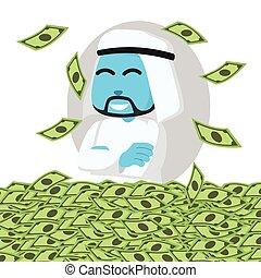 bleu, argent, mer arabe, homme affaires, heureux