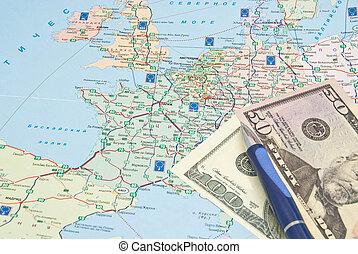 bleu, argent, stylo, européen, carte