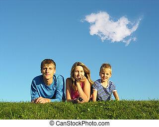 bleu, aromate, ciel, famille, sous