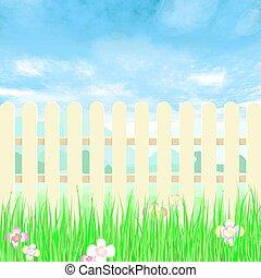 bleu, arrière-cour, jardinage, barrière, sky.