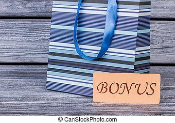 bleu, arrière-plan., achats, bois, sac
