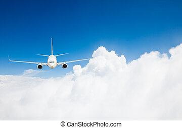 bleu, arrière-plan., avion, ciel
