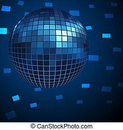 bleu, arrière-plan., balle, vecteur, disco