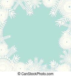 bleu, arrière-plan., blanc, flocons neige