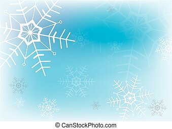 bleu, arrière-plan., blanc, vecteur, flocon de neige