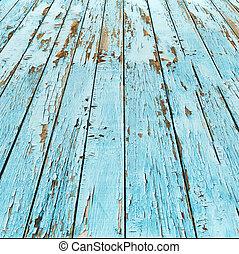 bleu, arrière-plan., bois, vieux, planche
