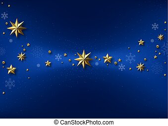 bleu, arrière-plan doré, étoiles, noël