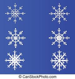bleu, arrière-plan., ensemble, flocons neige, vector.