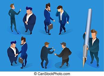 bleu, arrière-plan., ensemble, hommes affaires, caractères