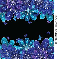 bleu, arrière-plan., fleur, noir, vecteur