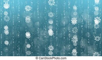 bleu, arrière-plan., flocons neige