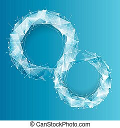 bleu, arrière-plan., géométrique, technologie
