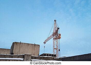 bleu, arrière-plan., grue, construction, ciel