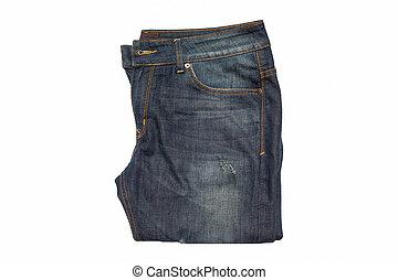 bleu, arrière-plan., jean, blanc, isolé
