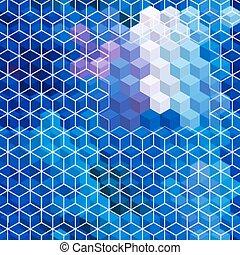 bleu, arrière-plan., mosaïque, cubique